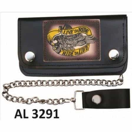 bedinhome - AL3291 Men's Boys Fashion Motorcycle Biker Heavy Duty 8 Inch Chain Wallet With 5 Pockets and Live to Ride/Ride to Live Logo - All State Leather - Men's Chain Wallet