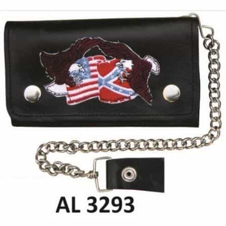 bedinhome - AL3293 Men's Boys Fashion Motorcycle Biker Heavy Duty 8 Inch Chain Wallet With 5 Pockets, Flags & Eagles Logo - All State Leather - Men's Chain Wallet