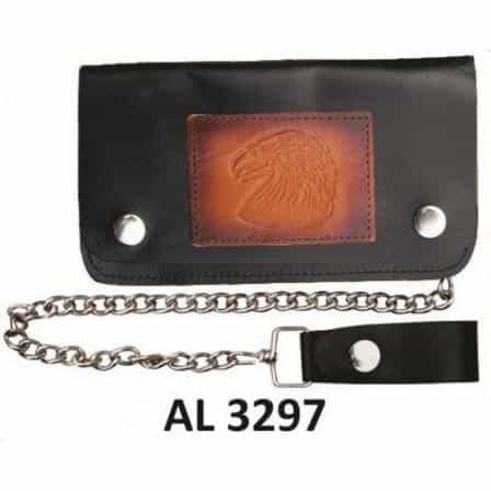 bedinhome - AL3297 Men's Boys Fashion Motorcycle Biker Heavy Duty 8 Inch Chain Wallet With 5 Pockets & Eagle Head Logo - All State Leather - Men's Chain Wallet