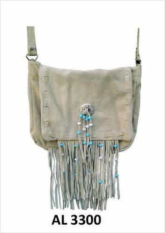 bedinhome - AL3300 Ladies Girls Fashion Motorcycle Biker Heavy Duty Light Brown Suede Leather Handbag With Fringe & Beads - All State Leather - Ladies Leather Bag