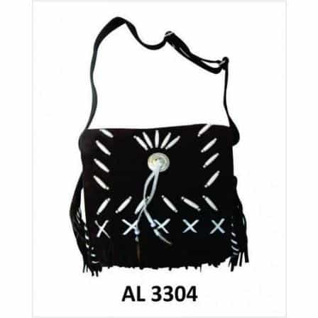 bedinhome - AL3304 Ladies Girls Fashion Motorcycle Heavy Duty Western Style Black Suede Cowhide Leather Handbag With Bones & Fringe - All State Leather - Ladies Leather Bag