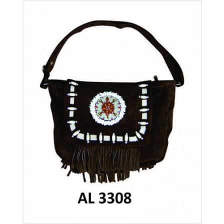 bedinhome - AL3308 Ladies Girls Fashion Motorcycle Heavy Duty Western Style Brown Suede Cowhide Leather Handbag With Beads,Bones & Fringe - All State Leather - Ladies Leather Bag