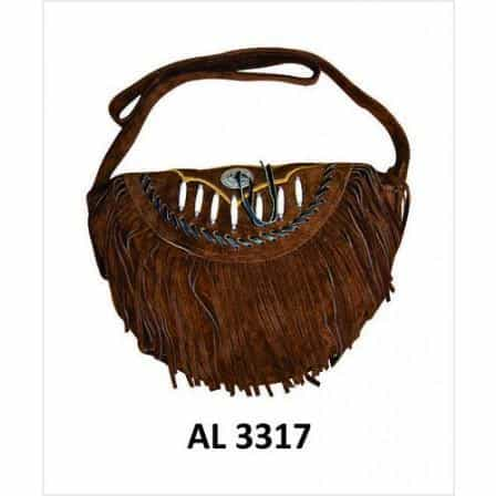 bedinhome - AL3317 Ladies Fashion Motorcycle Heavy Duty Western Style Dark Brown Suede Leather Handbag With Bones,Silver Conchos & fringe - All State Leather - Ladies Leather Bag