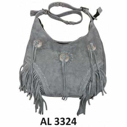 bedinhome - AL3324 Ladies Fashion Motorcycle Heavy Duty Western Style Gray Suede Leather Handbag With Fringe & 3 Conchos - All State Leather - Ladies Leather Bag