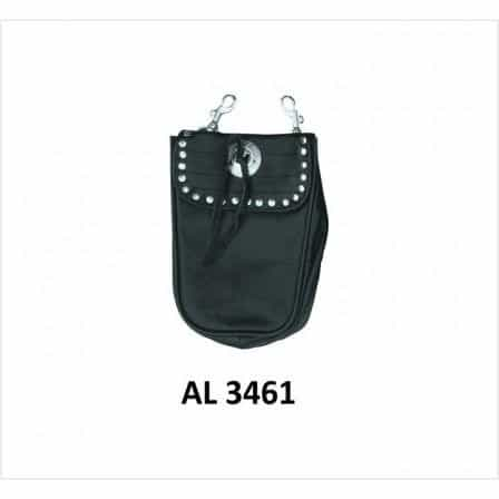 bedinhome - AL3461 Motorcycle Biker Stylish Heavy Duty Plain Leather Belt Loop Studded Bag - All State Leather - Men's Leather Bag