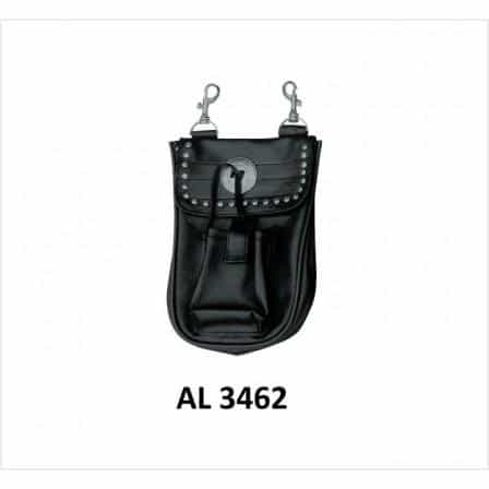 bedinhome - AL3462 Motorcycle Biker Heavy Duty Leather Cell Phone Pocket Belt Loop Studded Bag - All State Leather - Men's Leather Bag