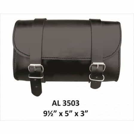 bedinhome - AL3503 Men's Motorcycle Biker Stylish Heavy Duty Small Plain Leather travel Tool Bag - All State Leather - Men's Leather Bag