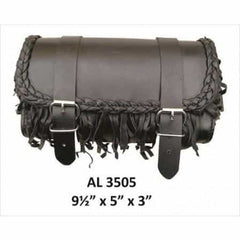 bedinhome - AL3505 Men's Motorcycle Biker Stylish Heavy Duty Small Fringe & Braid Leather Tool Bag - All State Leather - Men's Leather Bag