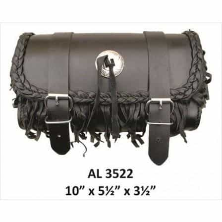 bedinhome - AL3522 Motorcycle Travel Medium Fringe & Braided Leather Tool Bag With Silver Conchos - All State Leather - Unisex Leather Bag