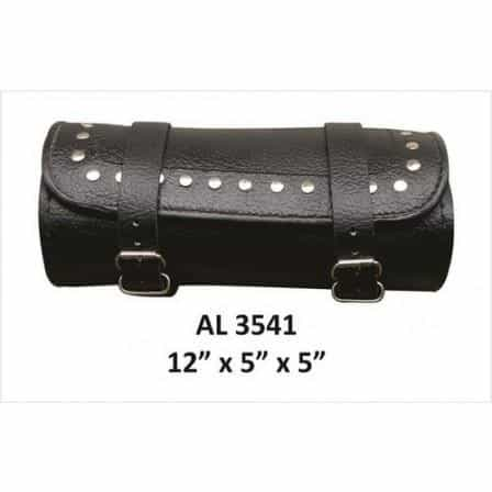 bedinhome - AL3541 Motorcycle Luggage Travel Round Studded Cowhide Leather Tool Bag - All State Leather - Unisex Leather Bag