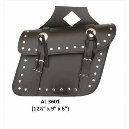 bedinhome - AL3601 Motorcycle Medium Travel Studded throw-over Saddle Bag in Leather With Conchos - All State Leather - Unisex Leather Bag