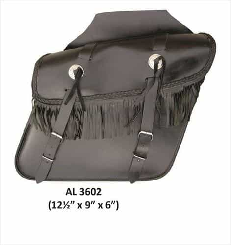 bedinhome - AL3602 Motorcycle Medium Luggage Fringe throw-over Saddle Bag in Leather With Conchos - All State Leather - Unisex Leather Bag