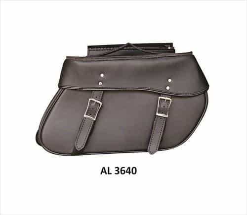 bedinhome - AL3640 Motorcycle Large Travel Luggage throw-over Saddle Bag in PVC Flap with zipper - All State Leather - Unisex Leather Bag
