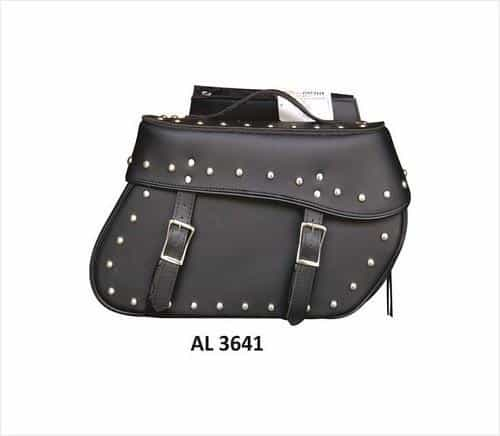 bedinhome - AL3641 Motorcycle Large Travel Studded throw-over Saddle Bag in PVC Flap with zipper - All State Leather - Unisex Leather Bag