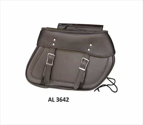 bedinhome - AL3642 Motorcycle Large Travel Braided throw-over Saddle Bag in PVC Flap with zipper - All State Leather - Unisex Leather Bag