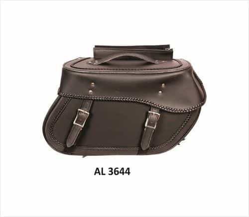 bedinhome - AL3644 Motorcycle Large Travel Braided throw-over Saddle Bags in PVC With Zipper - All State Leather - Unisex Leather Bag