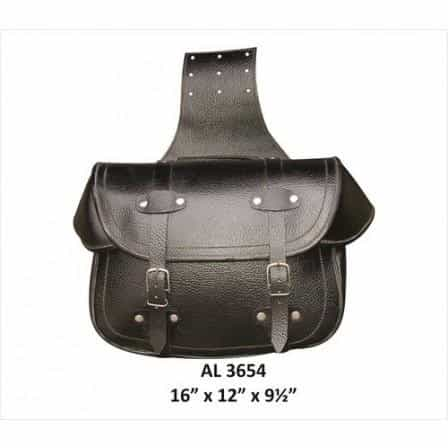 bedinhome - AL3654 Motorcycle X-Large Travel Plain throw-over Saddle Pebble Grain Soft Leather Bag - All State Leather - Unisex Leather Bag