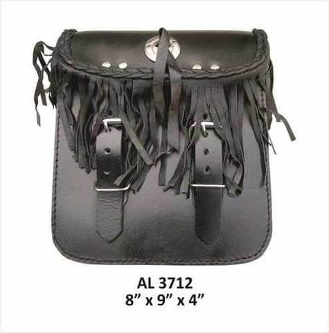 bedinhome - AL3712 Motorcycle Travel Medium Fringe & Braid Sissy bar leather bag With Silver Concho - All State Leather - Unisex Leather Bag