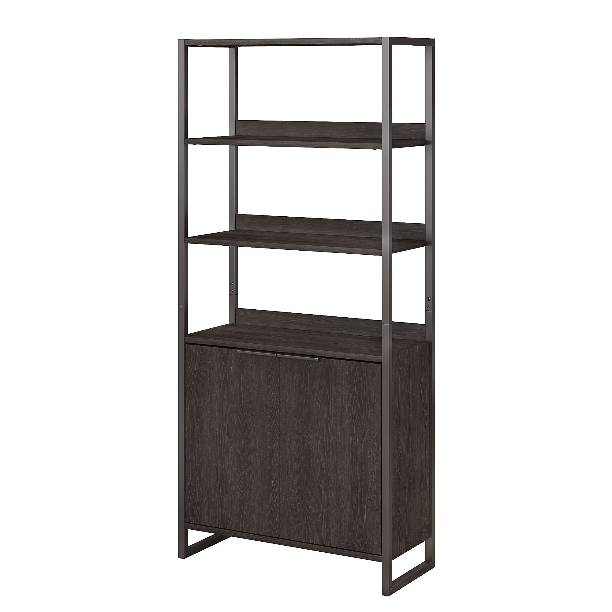 Office by kathy ireland® Charcoal Gray Atria 5 Shelf Bookcase with Doors