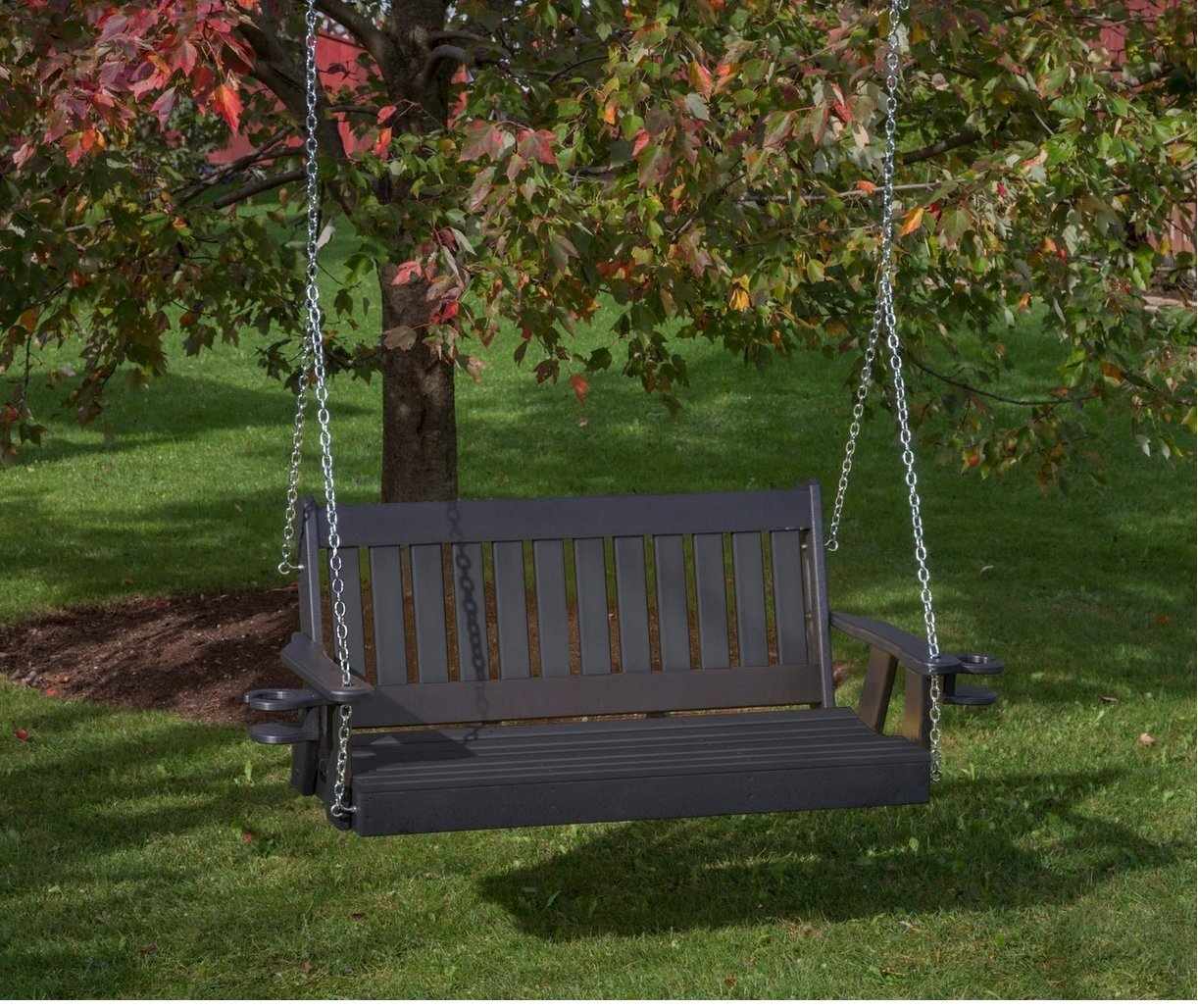 Mission Poly Lumber Amish Crafted PolyTuf HDPE Porch Swing with Cupholder arms