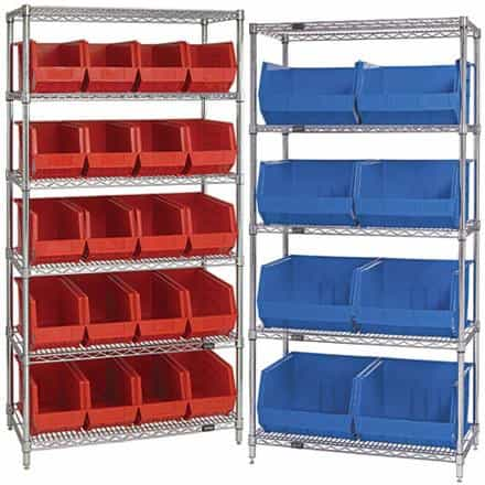 bedinhome - Packaging Supplies Storage Containers 36 Inch x 18 Inch x 74 Inch- 5 Shelf Wire Shelving Unit With (8) Plastic Bins- 1 Each - UNBRANDED - Wire Shelves with Bins