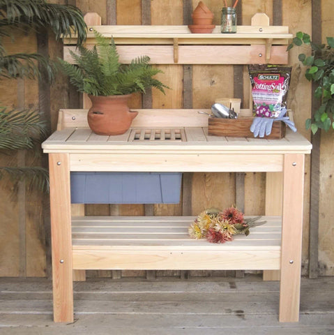 Hershyway Durable Cypress Wood Garden Patio Potting Table
