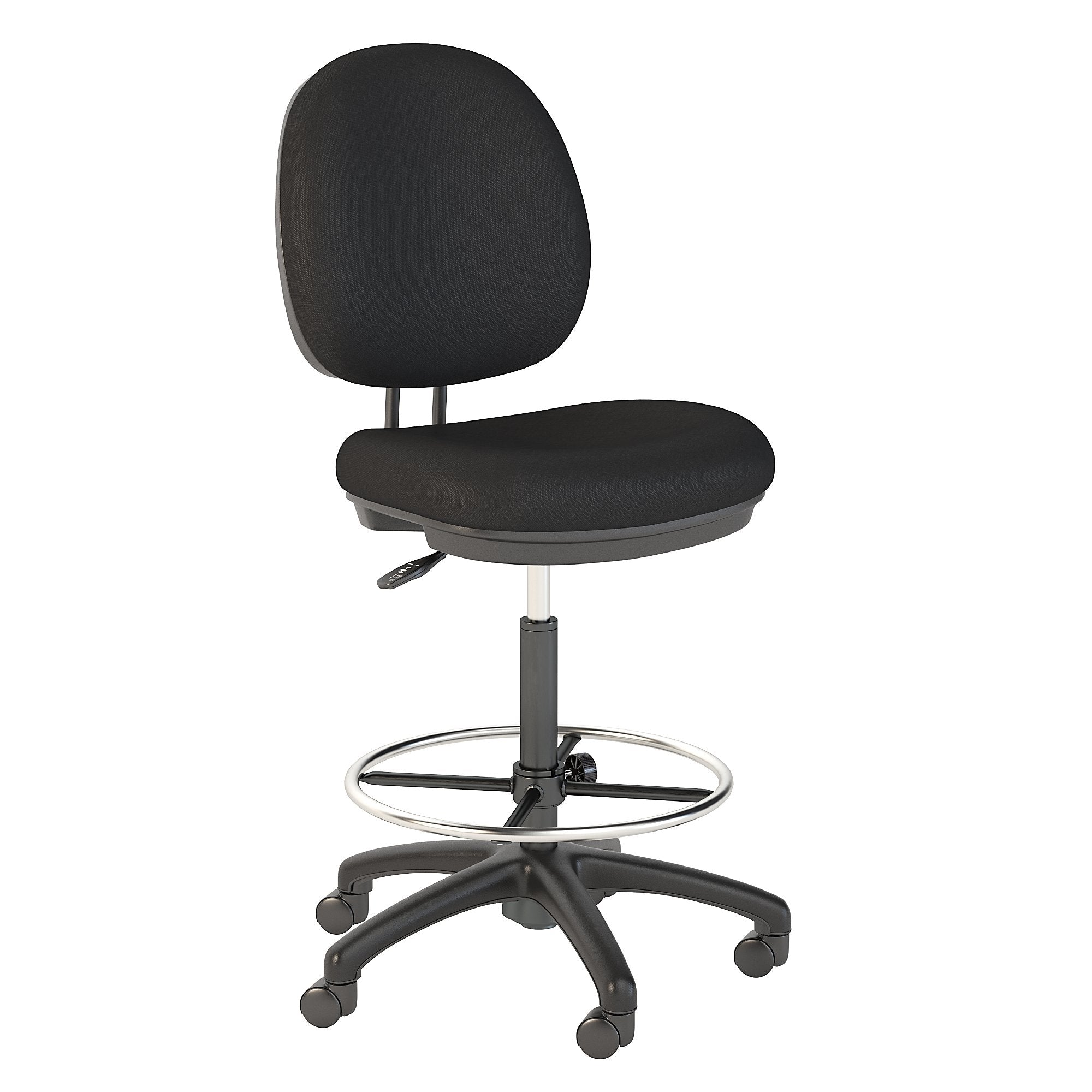 Bush Business Furniture Black Fabric Accord Drafting Stool with Chrome Foot Ring