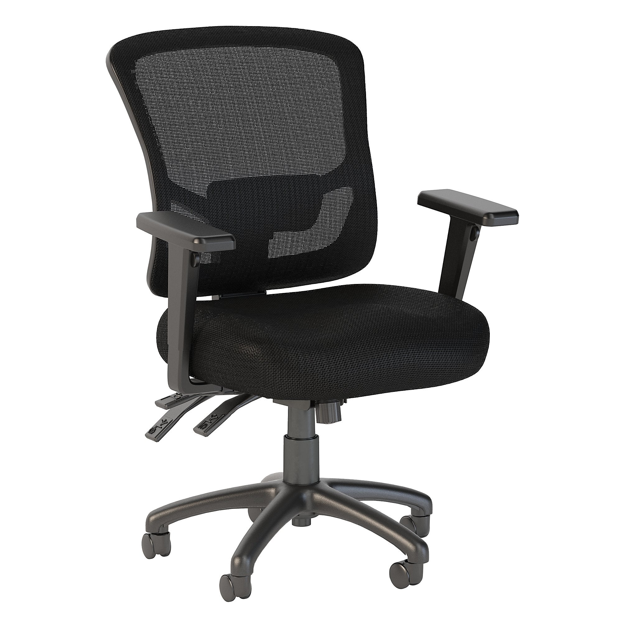 CH1304BLF-03 Bush Business Furniture Custom Comfort Mid Back Multifunction Black Nylon Mesh Executive Office Chair