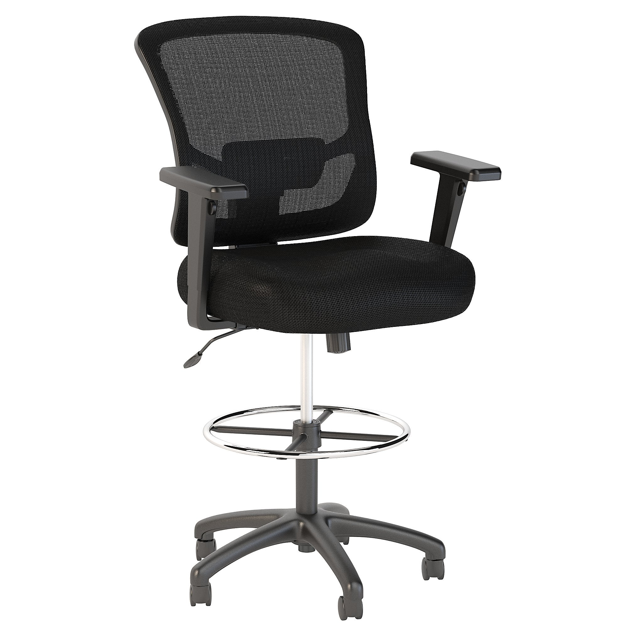 CH1308BLF-03 Bush Business Furniture Custom Comfort Black Nylon Mesh Back Drafting Chair with Chrome Foot Ring