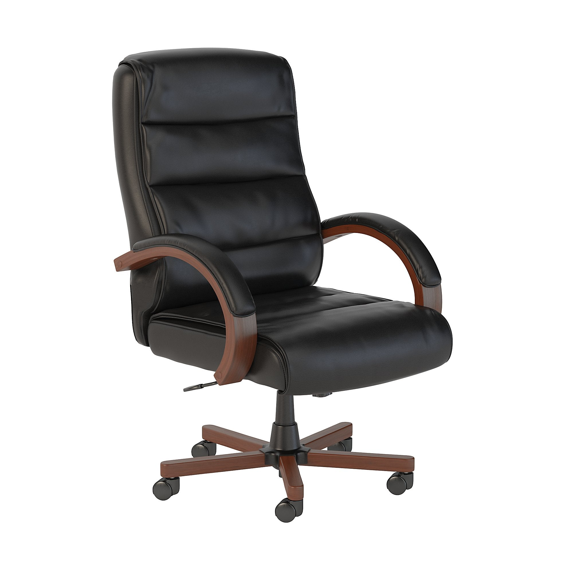 CH1501BLL-03 Bush Business Furniture Soft Sense High Back Black Leather Executive Office Chair with Wood Arms