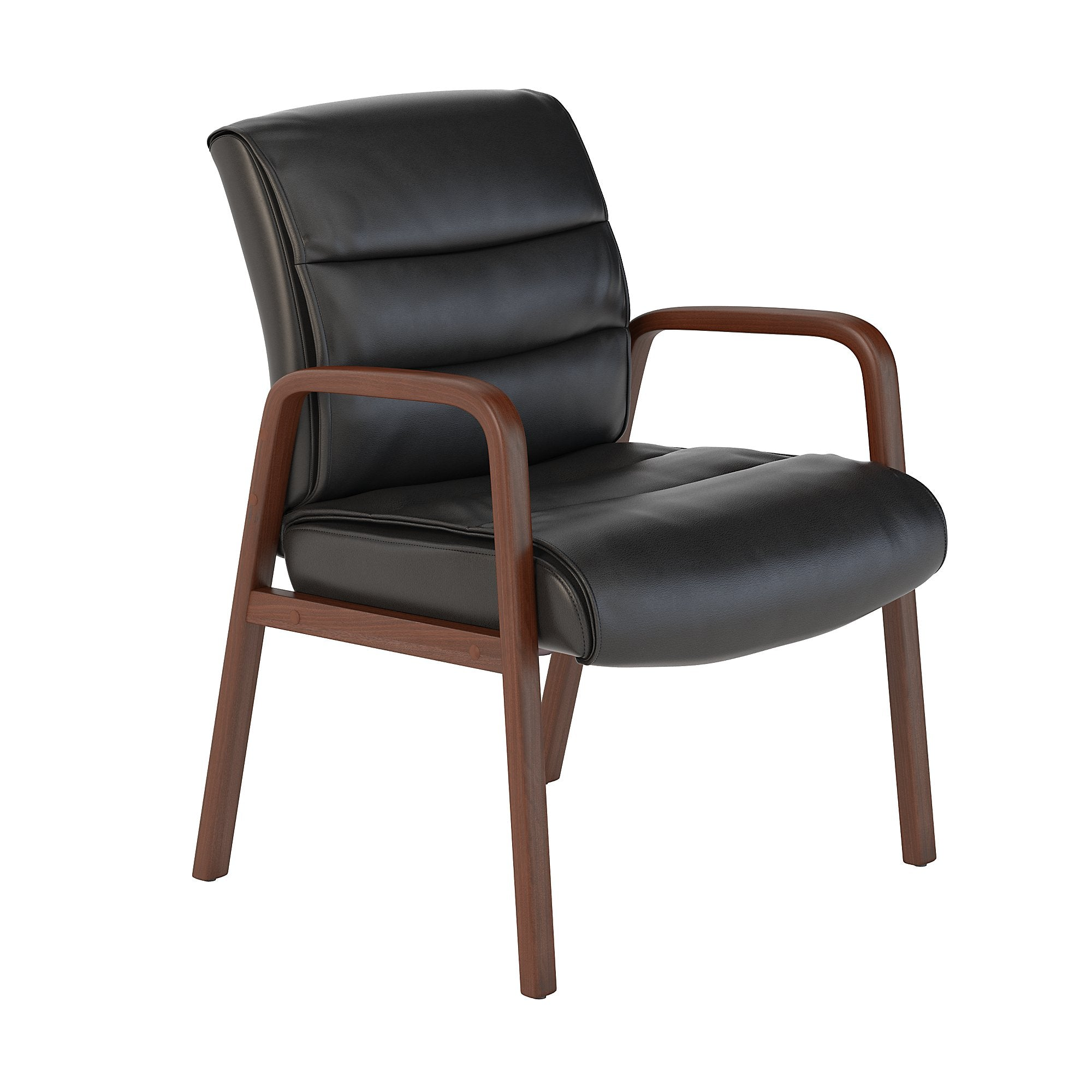 CH1502BLL-03 Bush Business Furniture Soft Sense Black Leather Guest Chair with Wood Arms