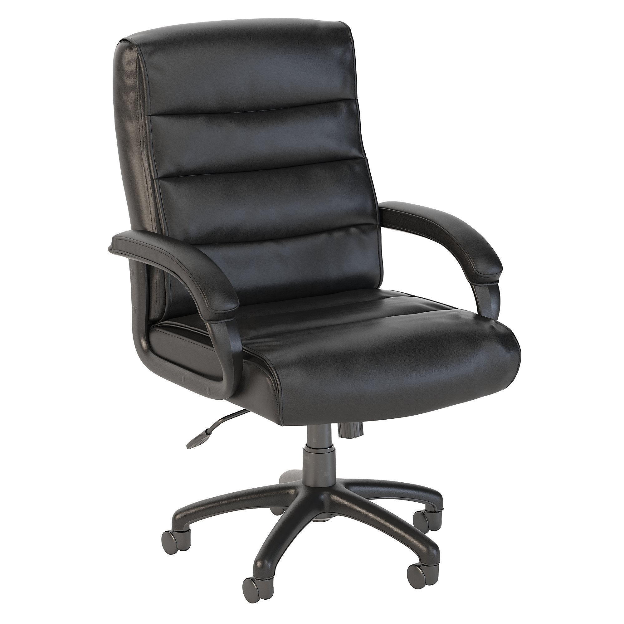 CH1505BLL-03 Bush Business Furniture Soft Sense Mid Back Black Leather Executive Office Chair