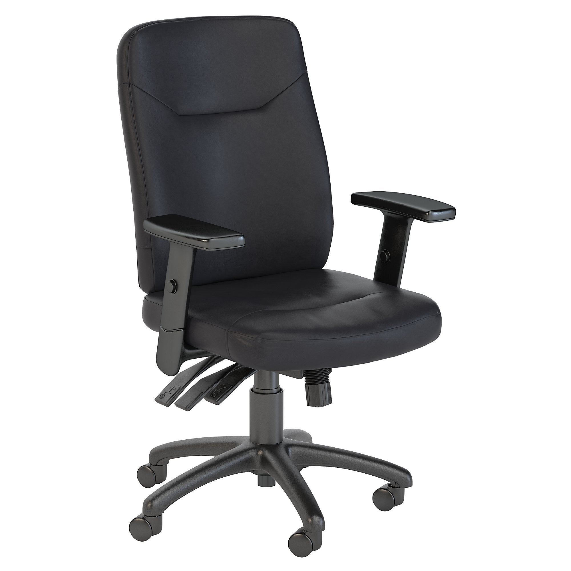 CH1901BLL-03 Bush Business Furniture Stanton High Back Multifunction Black Leather Executive Office Chair