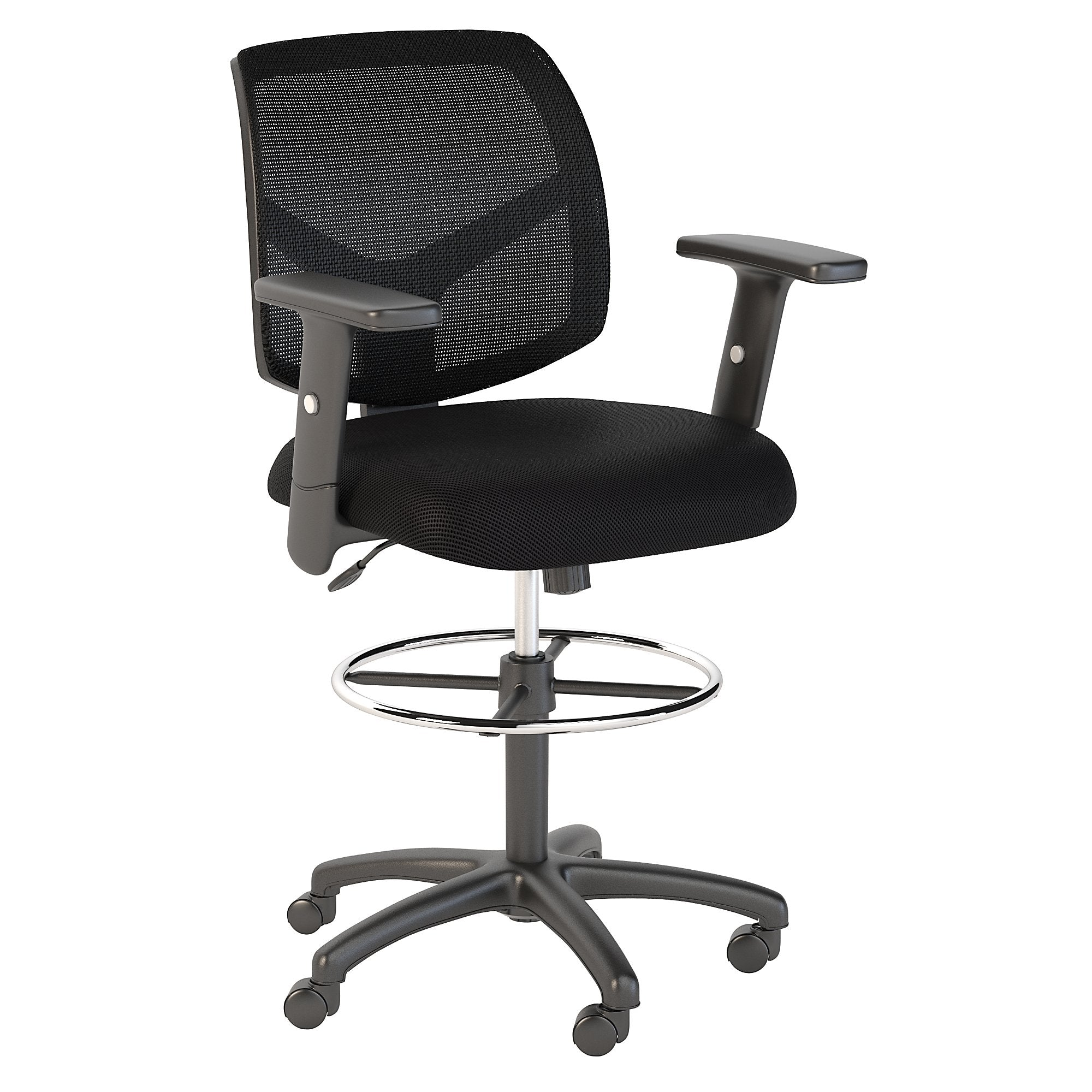 CH2103BLF-03 Bush Business Furniture Petite Black Nylon Mesh Back Drafting Chair with Chrome Foot Ring