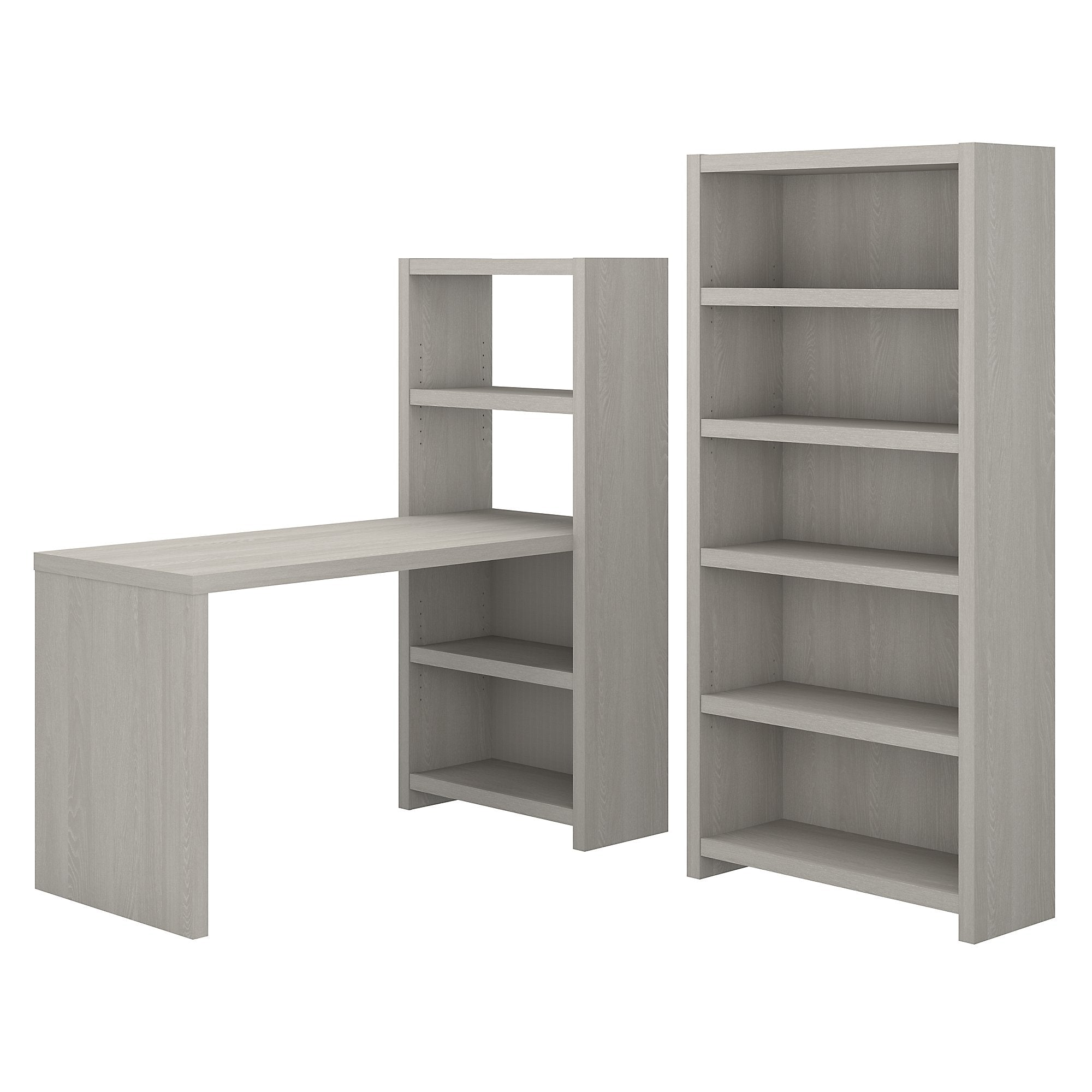Office by kathy ireland® Gray Sand Echo Bookcase Desk with Storage