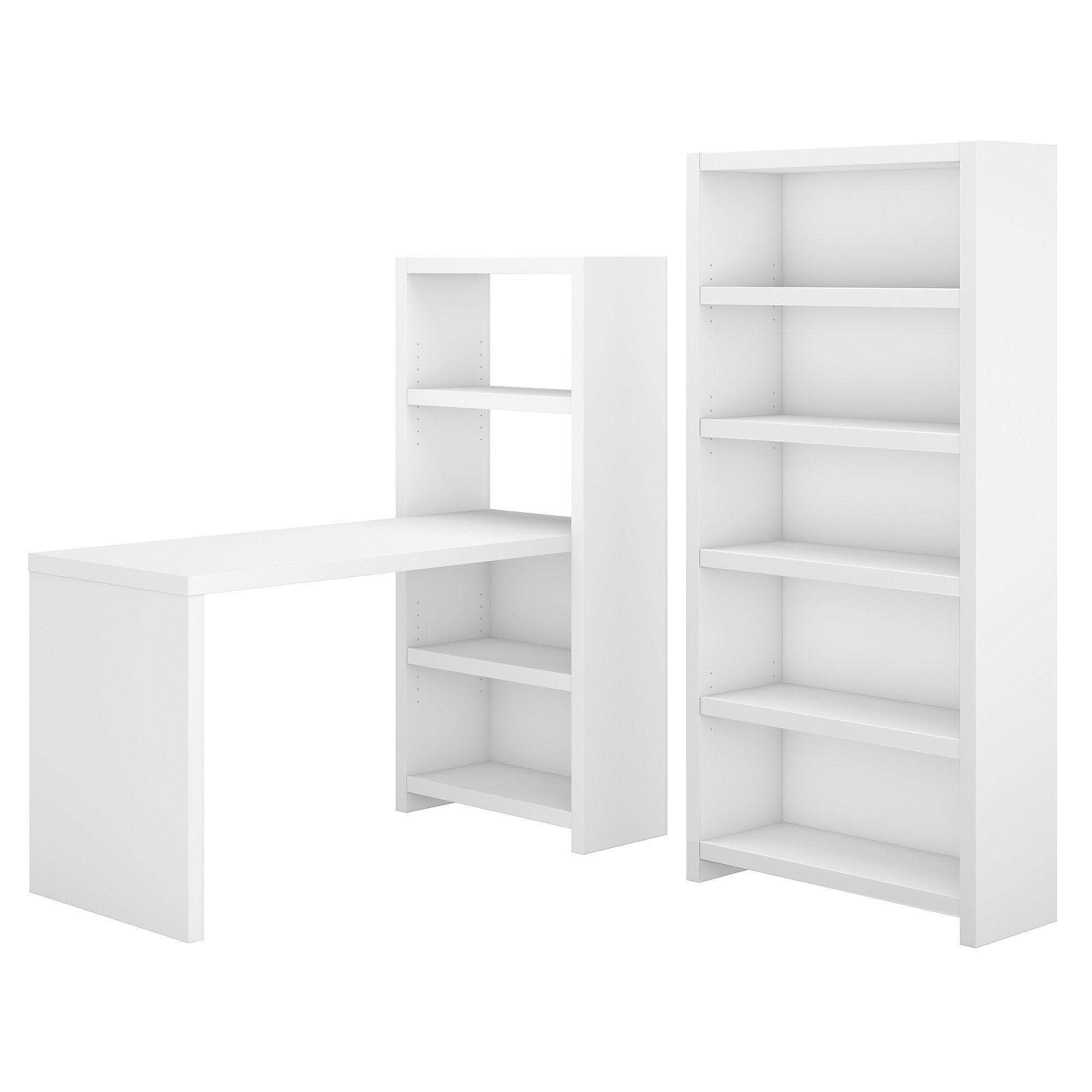 Office by kathy ireland® Echo Pure White Bookcase Desk with Storage