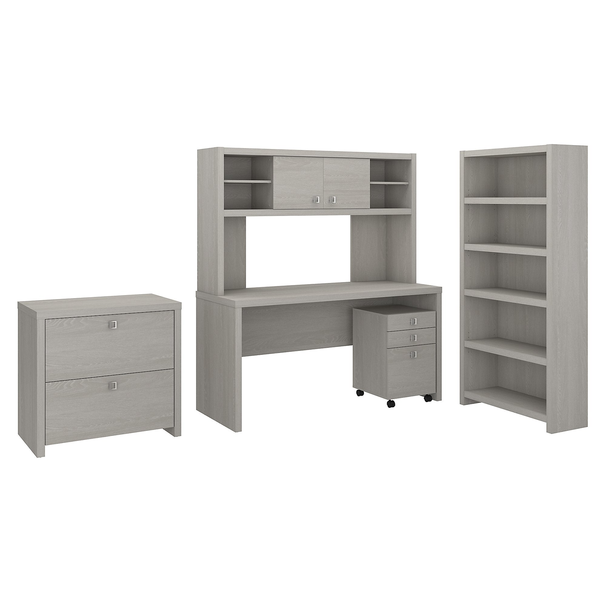 Office by kathy ireland® Gray Sand Echo Desk with Hutch, Bookcase and File Cabinets