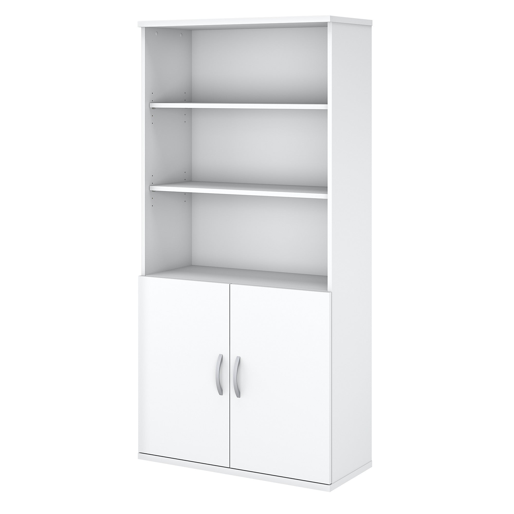 Easy Office 5 Shelf Bookcase with Doors- White