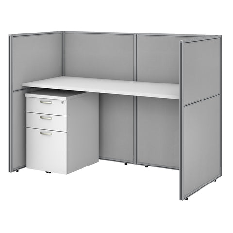 60W Cubicle Desk with File Cabinet and 45H Closed Panels Workstation