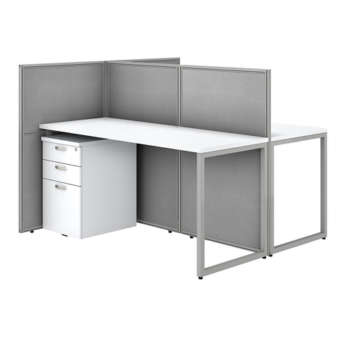 Easy Office 60W 2 Person Cubicle Desk with File Cabinets & 45H Panels