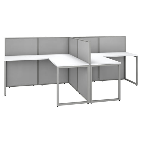 Easy Office 60W 2 Person L Shaped Cubicle Desk Workstation