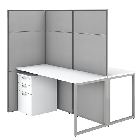 Easy Office 60W 2 Person Cubicle Desk with File Cabinets & 66H Panels
