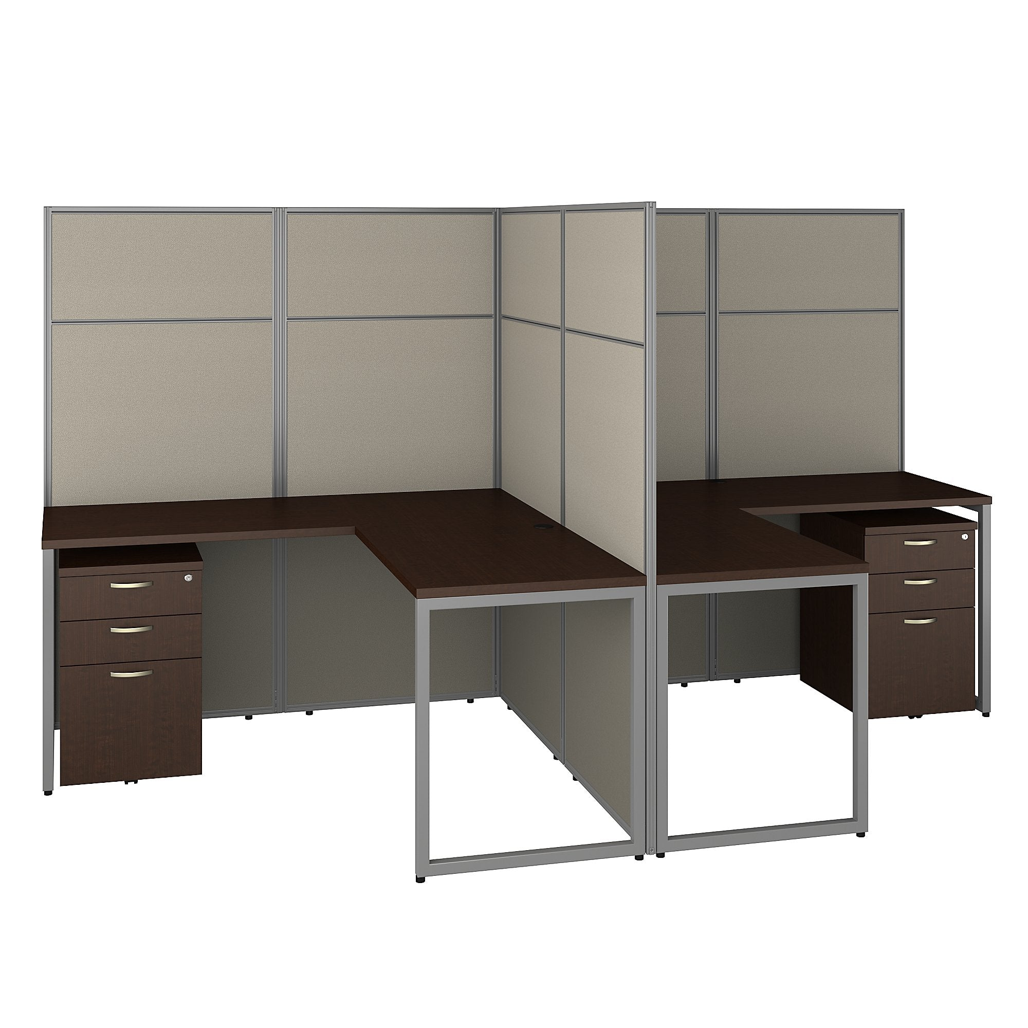 Bush Business Furniture Mocha Cherry Easy Office 60W 2 Person L Shaped Cubicle Desk with Drawers and 66H Panels