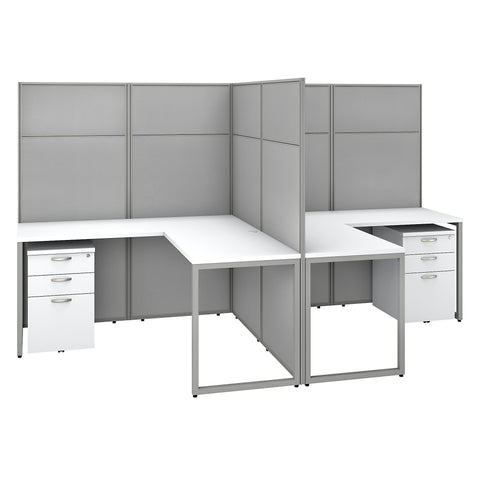Easy Office 60W 2 Person L Shaped Cubicle Desk with Drawers