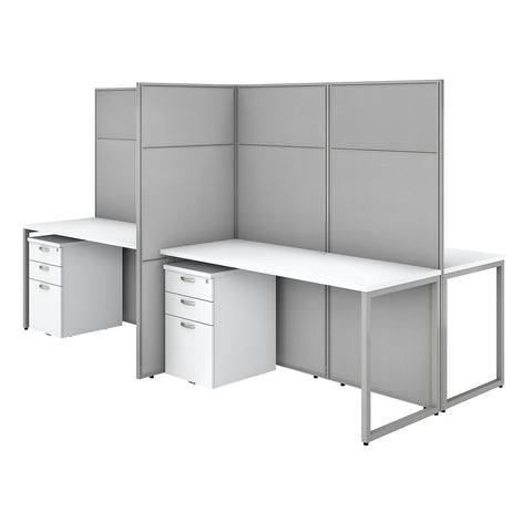 Easy Office 60W 4 Person Cubicle Desk with File Cabinets & 66H Panels