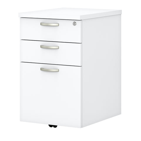 Easy Office 3 Drawer Mobile File Cabinet-Pure White