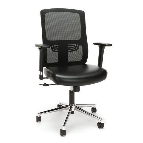 ESS-3048 Essentials by OFM Ergonomic Mesh Chair with Leather Seat