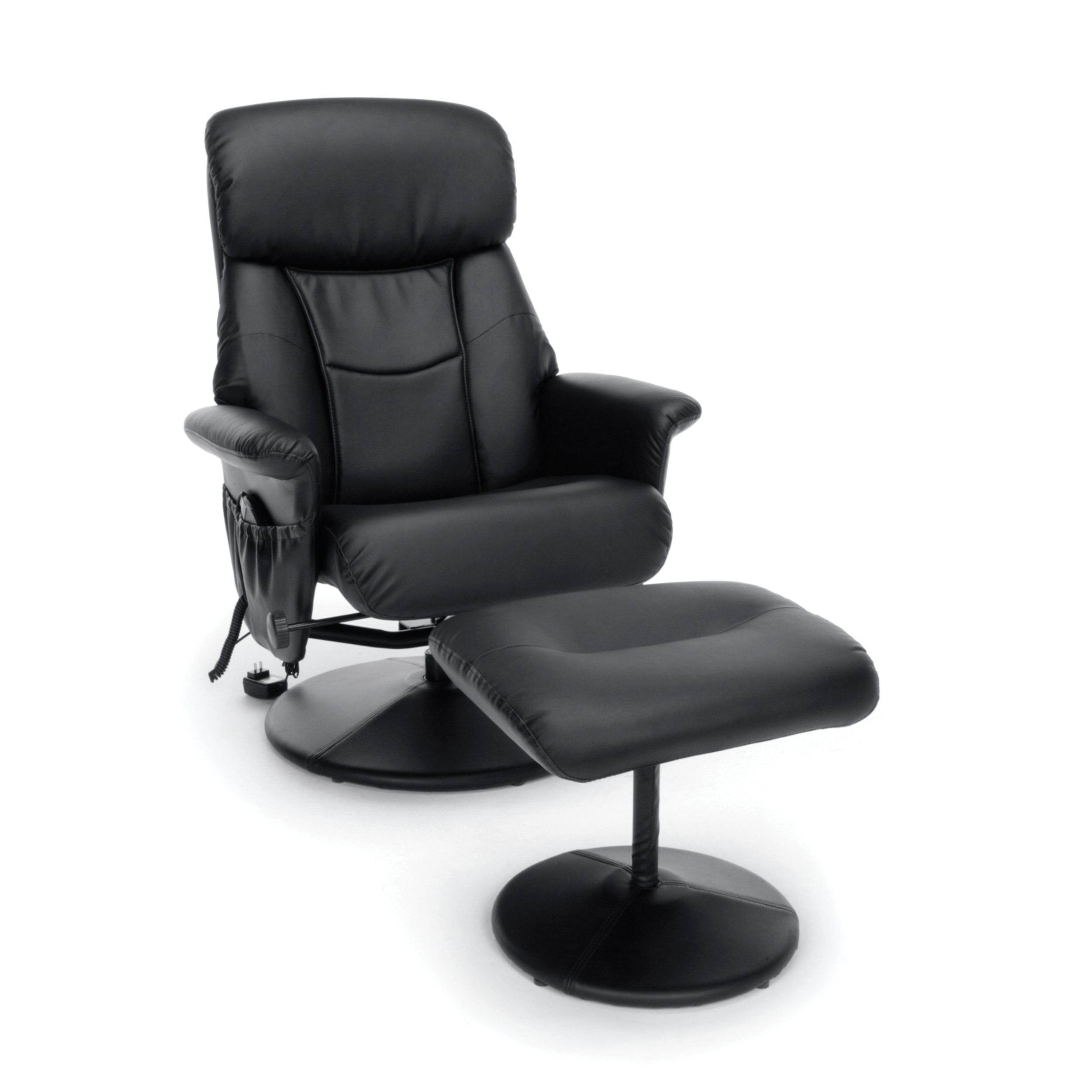Essentials by OFM Heated Shiatsu Massage Leather Recliner & Ottoman