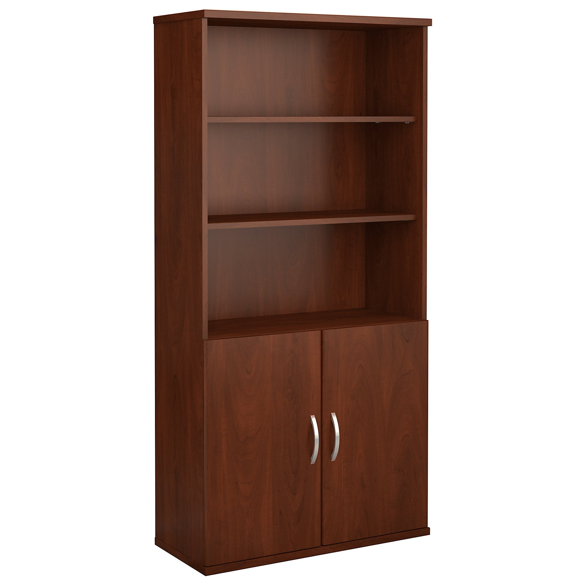Bush Business Furniture 5 Shelf Bookcase with Doors-Hansen Cherry