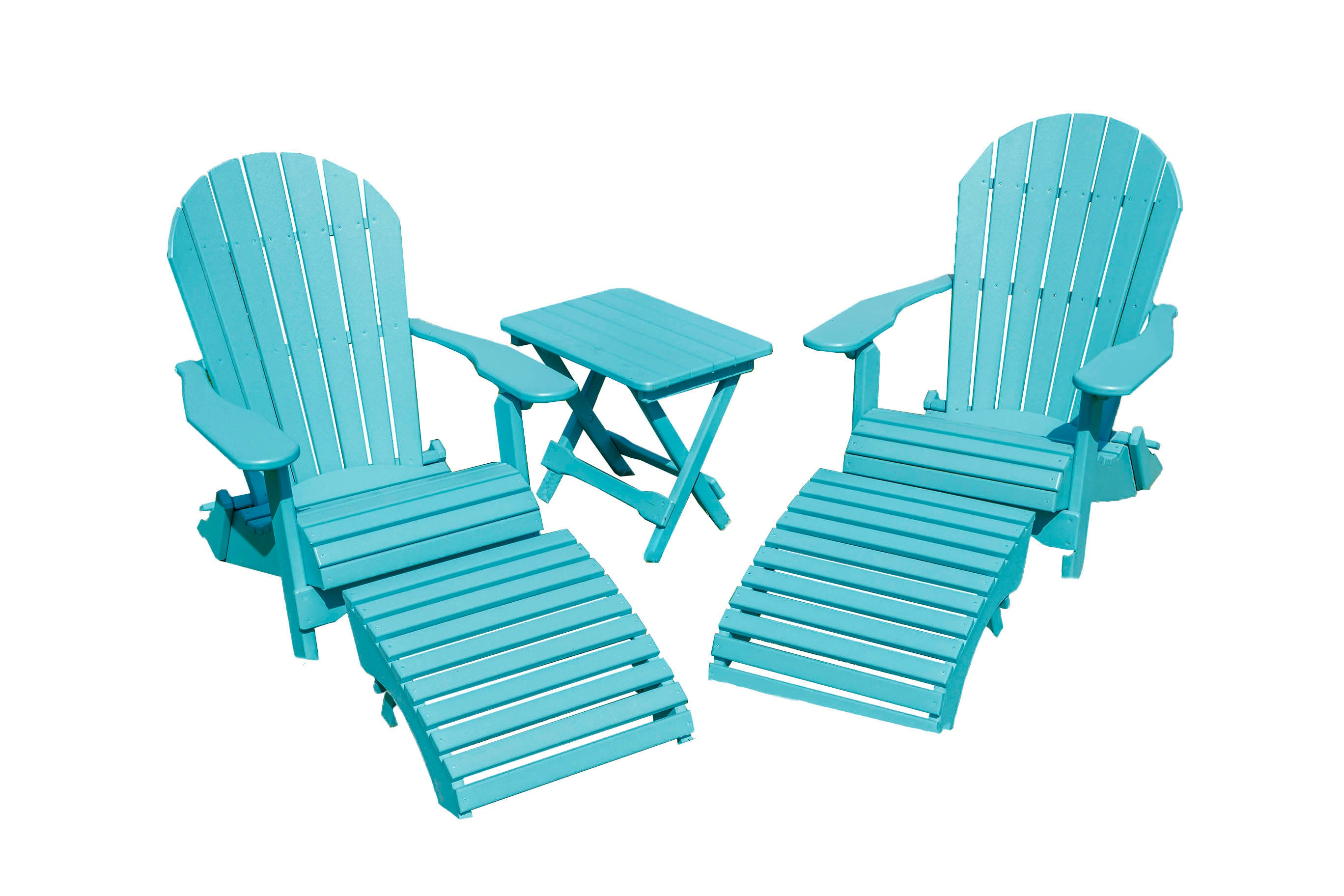 Outdoor Furniture Poly Lumber Patio Porch Folding Adirondack Chair Set